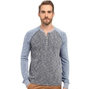 Lucky Brand Men's Color Block Henley Blue Spacedye